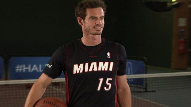 Andy Murray takes on the NBA half-court challenge