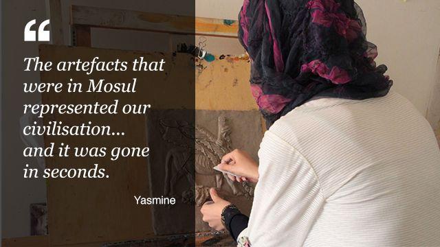 Yasmine, a sculptor who fled Mosul