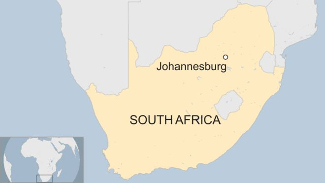 South africa train crash 200 injured near johannesburg bbc news map showing location of johannesburg in south africa gumiabroncs Choice Image