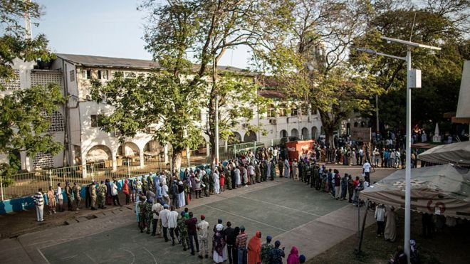 Long queues of voters at a polling station in The Gambia