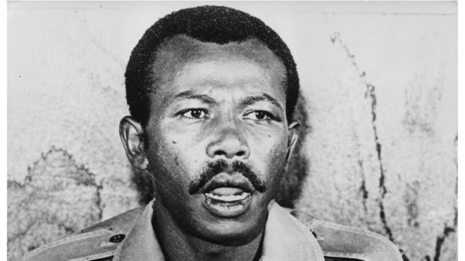 Colonel Mengistu Haile Mariam, Chairman of the Ethiopian Provisional Military Council, talking during a press conference, February 22nd 1978.
