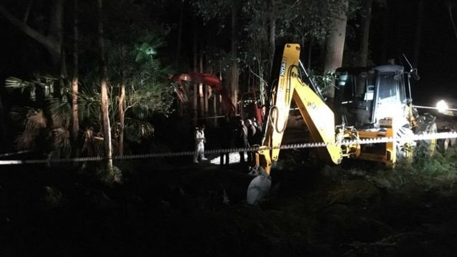 Excavators at the site where police uncovered human remains in Sydney