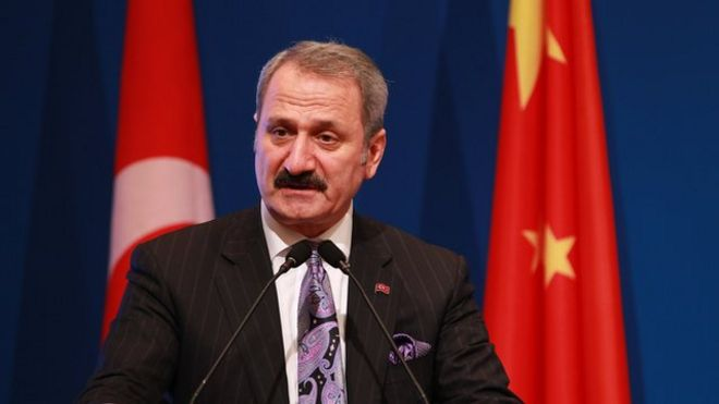 Turkey's Economy Minister Mehmet Zafer Caglayan speaks during the Turkey-China Business Forum