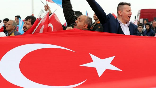 "Supporters of the Nationalist Movement Party (MHP) chanting at a ""Vote Yes"" rally in Istanbul, Turkey, 9 April 2017"