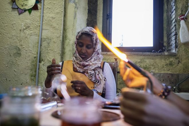 Rawda at work in a glassmakers workshop