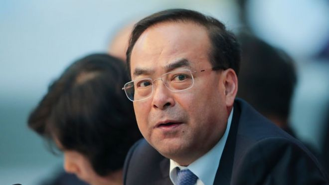 Sun Zhengcai attends the Chongqing delegation's group meeting in 2017
