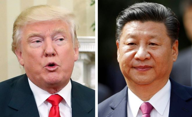 This combination of two 2016 file photos shows, U.S. President-elect Donald Trump, left, talking with President Barack Obama at White House in Washington, U.S.A. on 10 November, and China's President Xi Jinping arriving at La Moneda presidential palace in Santiago, Chile, on 22 November