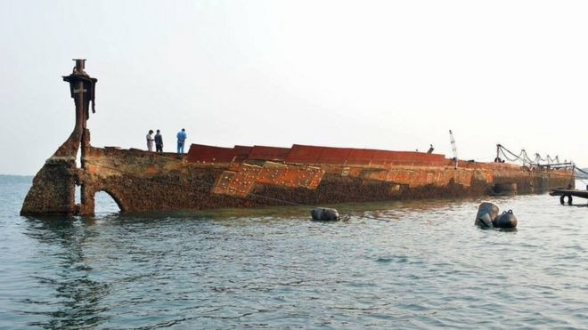 The wreck of the SS Sagaing after it was floated by Sri Lanka's navy