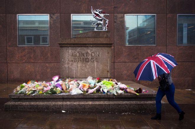 Quang cảnh tại London Bridge nơi xảy ra vụ tấn công khủng bố làm 8 người thiệt mạng.