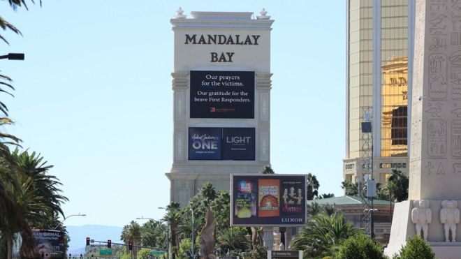 A sign outside the Mandalay hotel