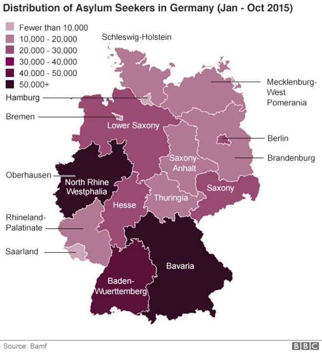 Migrant Crisis How One City In Germany Is Coping BBC News - Germany map 2015