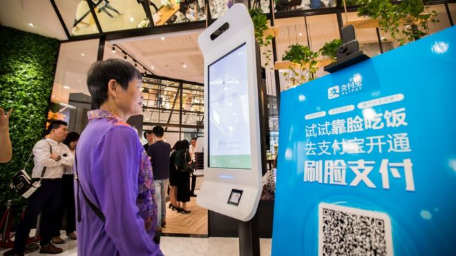 "A customer tries Alipay""s facial recognition payment solution ""Smile to Pay"" at KFC""s new KPRO restaurant in Hangzhou, Zhejiang province, China September 1, 2017"