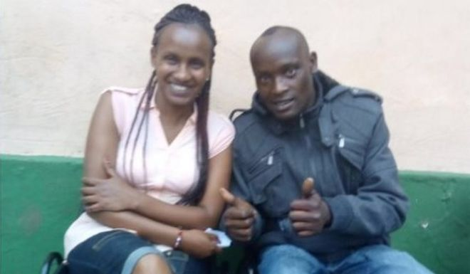 Wanja and Hinga, who is giving thumbs up sign and looking happy sitting on chairs at rehab centre.