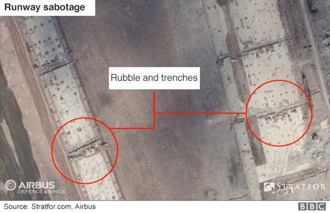 Uydu görüntüsü, Musul havaalanı pistine hasar verdiğini gösteriyor