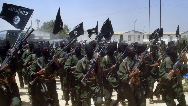 A file photo taken on February 17, 2011 shows Islamist fighters loyal to Somalia's al-Qaeda inspired al-Shabab group performing military drills at a village in Lower Shabelle region, some 25km outside Mogadishu