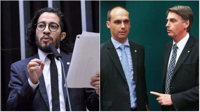 Os deputados Jean Wyllys, Eduardo e Jair Bolsonaro