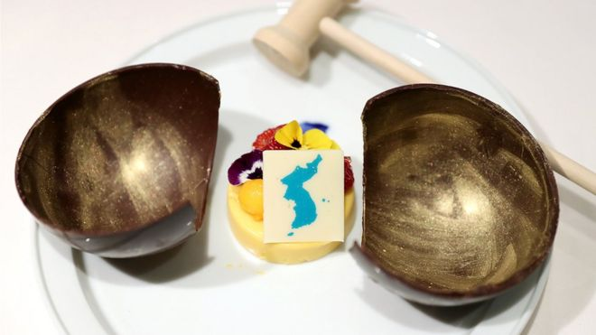 Mango dessert with a map of the Korean peninsula to be served at the Inter Korean Summit is shown in Seoul, South Korea, 25 April 2018