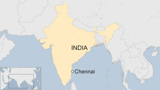 Map showing Chennai in India