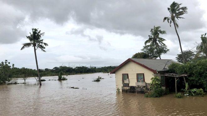 Flooding caused by Cyclone Josie in Nailaga Village, Ba, Fiji, 1 April 2018