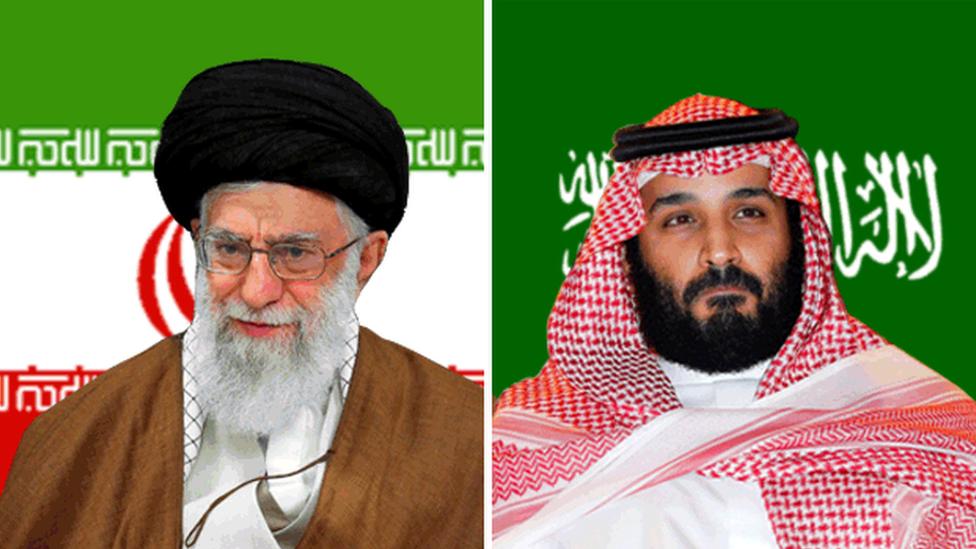 Iran's Ayatollah Ali Khamenei (L) and Saudi Crown Prince Mohammed bin Salman