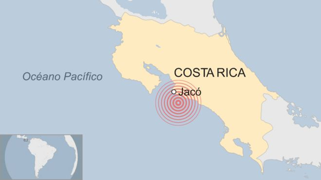Ubicación de los tres sismos en Costa Rica