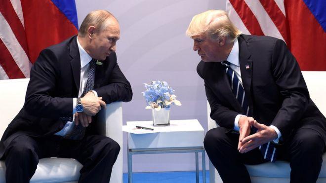 Путин и Трамп во время встречи
