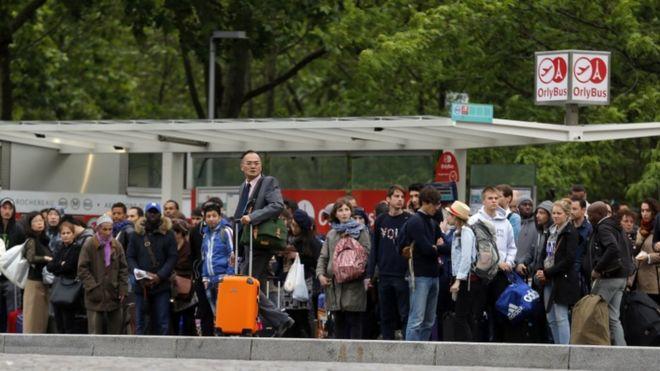 Passengers at Orly airport in Paris , 2 June