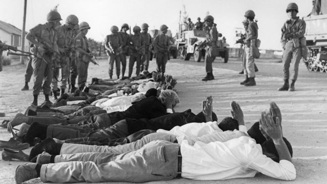 Palestinians surrender to Israeli soldiers in June 1967 in the occupied territory of the West Bank.