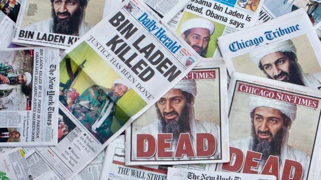 Jornais com fotos de Osama Bin Laden
