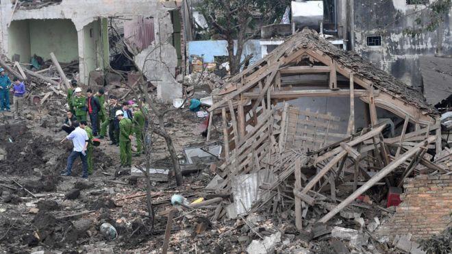 Hiện trường vụ nổ ở Bắc Ninh sáng 3/1/2017