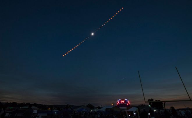 A handout photo made available by Nasa shows a composite image showing the progression of a total solar eclipse over Madras, Oregon, USA, 21 August 2017.