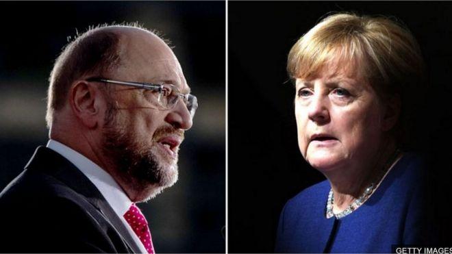 Martin Schulz và Angela Merkel là các đối thủ chính