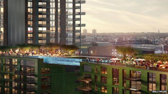 Sky Pool swimming pool 'bridge' to link london towers - bbc news