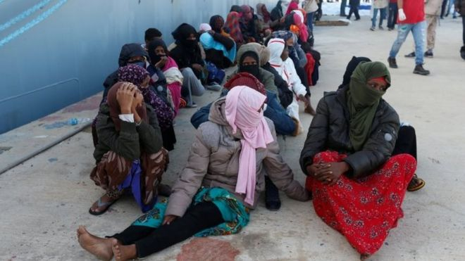 Migrants arrive at a naval base after they were rescued by Libyan coastal guards in Tripoli, Libya on November 25, 2017