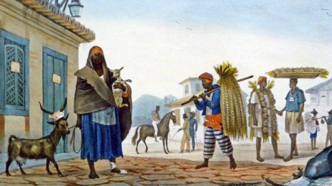 Cena urbana no Rio de Janeiro escravocrata do século 19, pintada por Jean-Baptiste Debret