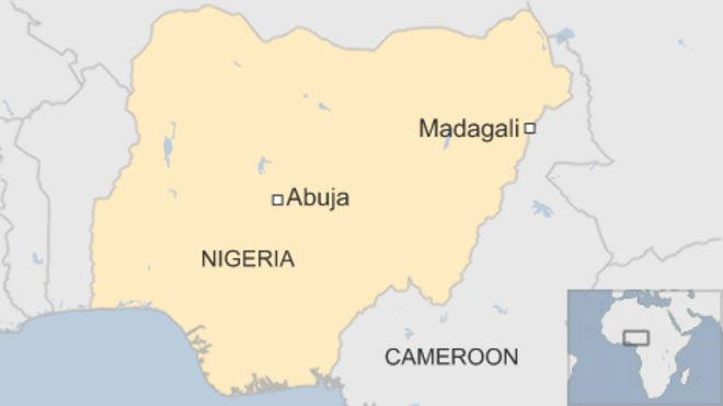 Map showing Madagali in north-east Nigeria