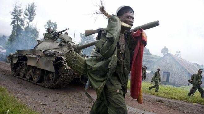 Les militaires congolais des FARDC lors des opérations contre les rebelles à Kibumba dans la province du Nord-Kivu