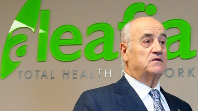 Former police chief and Conservative cabinet minister Julian Fantino speaks at his company, Aleafia