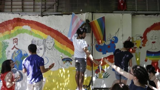 Activists paint walls in rainbow colours during ahead of the annual Gay Pride march in Istanbul, Turkey. Photo: 24 June 2017
