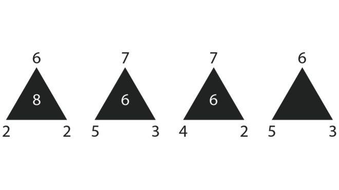 Teste para treinar o cérebro: Qual é o número que falta dentro do último triângulo?