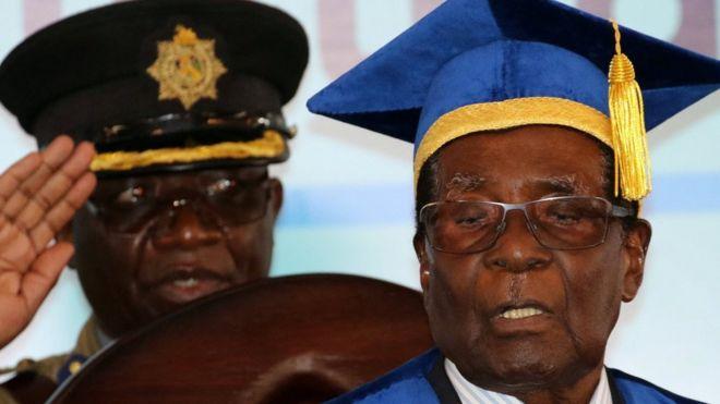 Robert Mugabe (right) at graduation ceremony in Harare. Photo: 17 November 2017