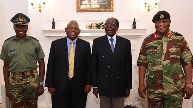 Zimbabwean President Robert Mugabe under house arrest, posing alongside Zimbabwe Defence Forces Commander General Constantino Chiwenga, 16 November 2017