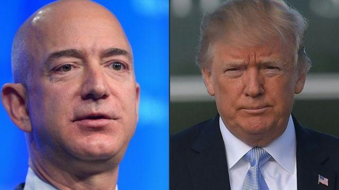 Trump acusa a Bezos de que Amazon no paga los impuestos que debiera.