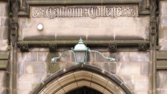 The gate at Calhoun College, one of Yale's 12 residential colleges for undergraduates, 11 February 11 2017