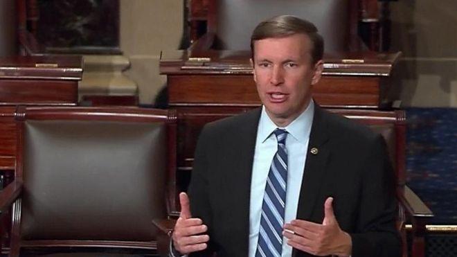 Sen Chris Murphy on the floor of the Senate in Washington, Wednesday, June 15, 2016