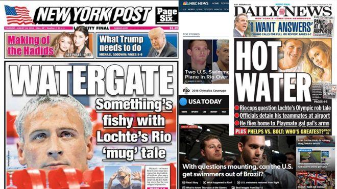 Sites de jornais e TVs americanas