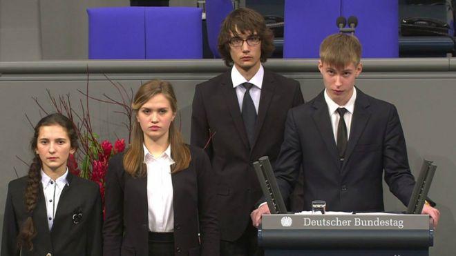Russian school student Nikolai Desyatnichenko addresses the German Bundestag in Berlin on 17 November 2017