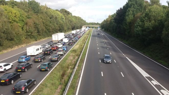 Motorists stuck on the M3