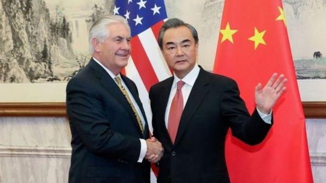 Waziri wa maswala ya kigeni nchini Marekani Rex Tillerson na mwenzake wa China Wang Yi