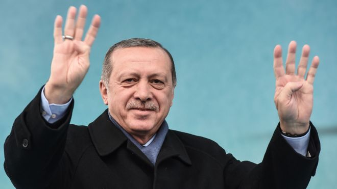 President Erdogan giving four-finger salute, 11 Mar 17